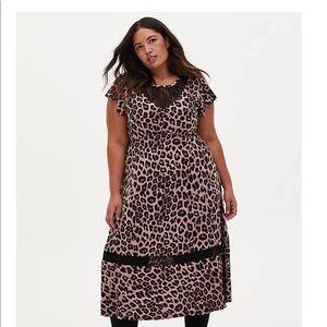 Nwt Torrid Studio Knit Leopard Print MIDI Dress